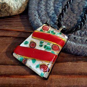 Red Dichroic Glass Trapezoid Pendant Necklace